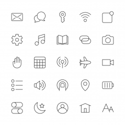 Mobile Device Setting Icons - Thin Line Series