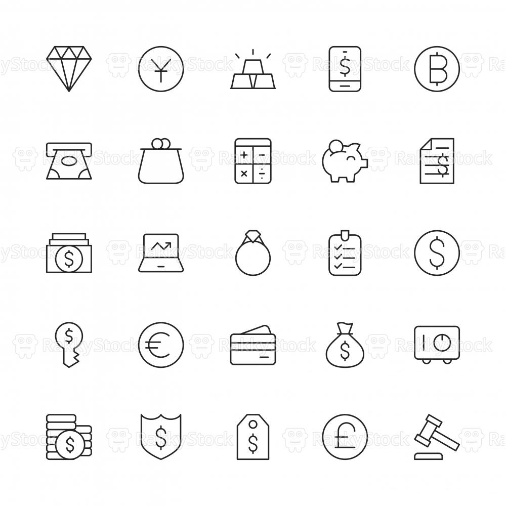 Financial Item Icons - Thin Line Series