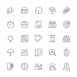 Business Strategy Icons - Thin Line Series