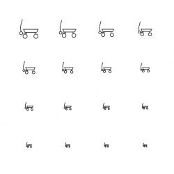 Pull Along Wagon Icons - Multi Scale Line Series