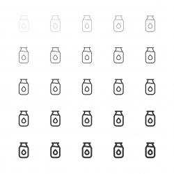 Milk Bottle Icons - Multi Line Series