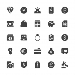 Financial Item Icons - Gray Series