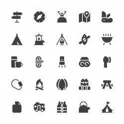 Camping Icons - Gray Series