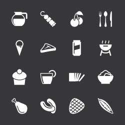 Eating Icons Set 3 - White Series | EPS10