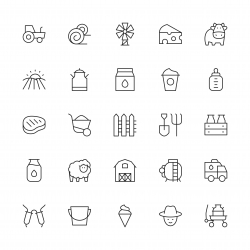 Dairy Farm Icons - Thin Line Series