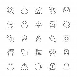Food and Drink Icons Set 3 - Thin Line Series