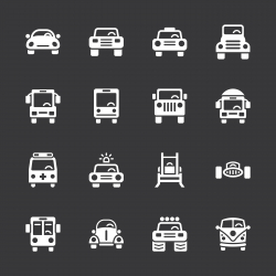 Car Collection Icons - White Series | EPS10