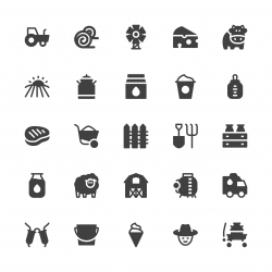 Dairy Farm Icons - Gray Series