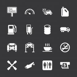 Gas Station Icons - White Series | EPS10