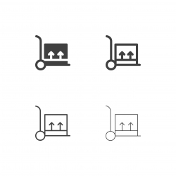 Hand Truck with Box Icons - Multi Series