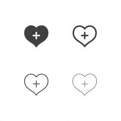 Heart with Plus Sign Icons - Multi Series
