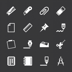 Office Icons Set 2 - White Series | EPS10