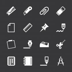 Office Icons Set 2 - White Series | EPS10