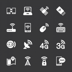 Mobile and Wireless Technology Icons - White Series | EPS10