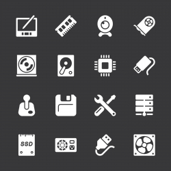 Computer Hardware Icons Set 2 - White Series | EPS10