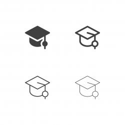 Graduation Hat Icons - Multi Series