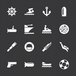 Navy Icons - White Series | EPS10