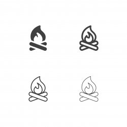 Camping Fire Icons - Multi Series