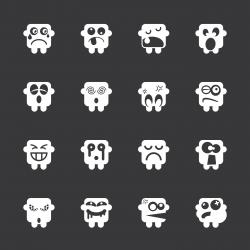 Emoticons Set 8 - White Series | EPS10
