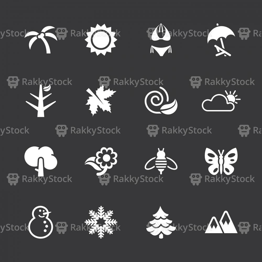 Four Seasons Icons - White Series | EPS10