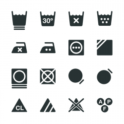 Laundry Sign Silhouette Icons | Set 3