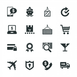 Online Shopping and Shipping Silhouette Icons