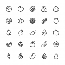 Vegetable and Fruit Icons - Line Series