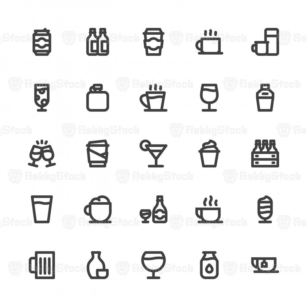 Drink Icons Set 1 - Bold Line Series