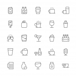 Drink Icons Set 1 - Thin Line Series