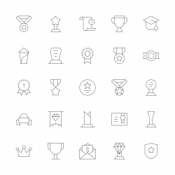 Award and Trophy Icons - Ultra Thin Line Series