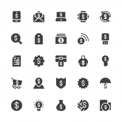 Dollar Sign Icons - Gray Series