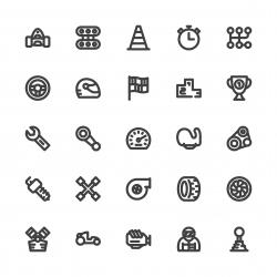 Motor Racing Icons - Bold Line Series