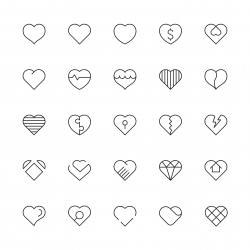 Heart Icons - Thin Line Series