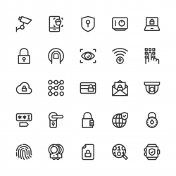 Security System Icons - Line Series