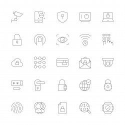 Security System Icons - Ultra Thin Line Series