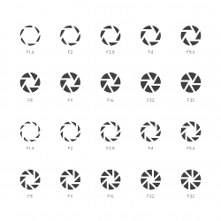 Size of Aperture Icons - Bold Gray Series