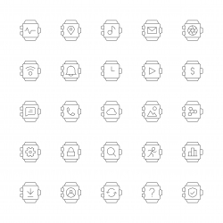 Smart Watch Icons - Ultra Thin Line Series