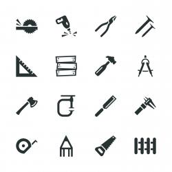 Carpenter Silhouette Icons