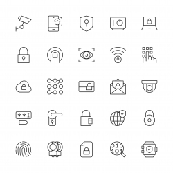 Security System Icons - Thin Line Series