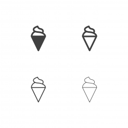 Soft Ice Cream Cone Icons - Multi Series