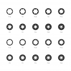 Size of Aperture Icons - Gray Series