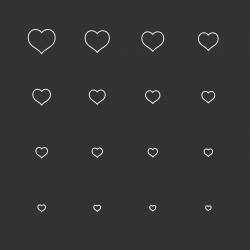 Heart Shape Icons - White Multi Scale Line Series