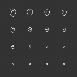 Location Icons - White Multi Scale Line Series