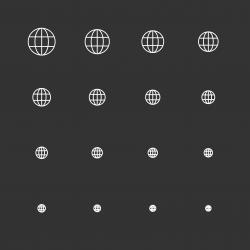 Globe Icons - White Multi Scale Line Series
