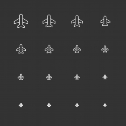 Airplane Icons - White Multi Scale Line Series