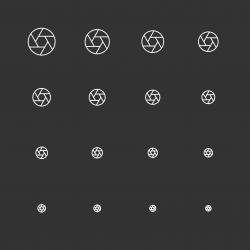 Aperture Icons - White Multi Scale Line Series