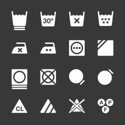 Laundry Sign Icons Set 3 - White Series | EPS10