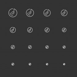 Musical Disc Icons - White Multi Scale Line Series