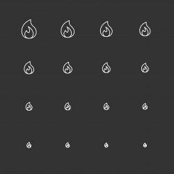 Flame Icons - White Multi Scale Line Series