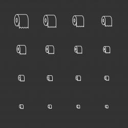 Toilet Paper Icons - White Multi Scale Line Series